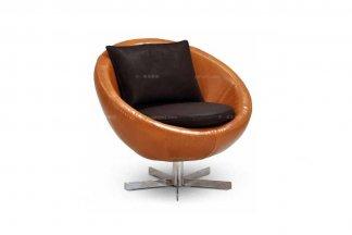 高端时尚现代意大利进口橙色半圆休闲椅