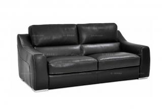 高端品牌现代意大利进口黑色真皮办公二人沙发