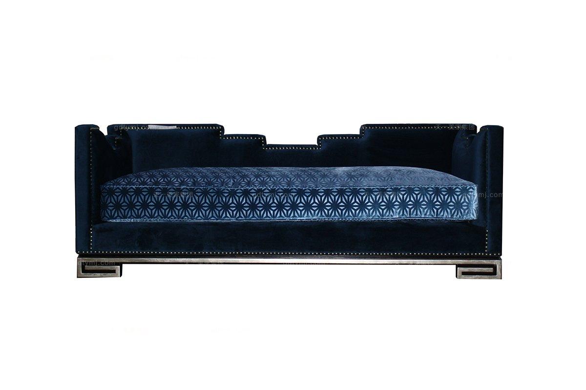 高端会所家具奢华新古典黑檀色卧房小沙发