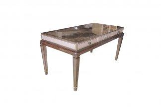 高端大气别墅万博手机网页奢华新古典香槟银书桌