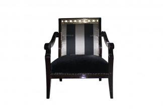 高端万博手机网页品牌新古典黑檀色单人沙发