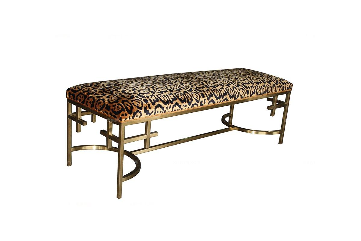 高端大气家具品牌新古典枫影色床尾凳
