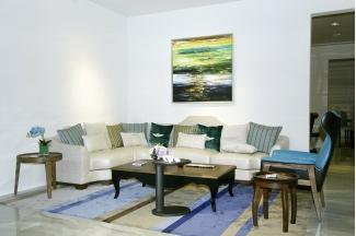 名贵别墅万博手机网页品牌自然主义白色转角沙发