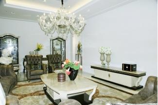 高端奢华别墅品牌家具白色实木茶几+电视柜