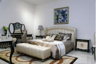 名贵奢华星级酒店万博手机网页自然主义软包双人床