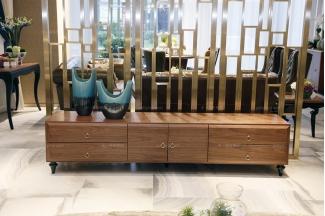 高端万博手机网页品牌自然主义风原木色实木电视柜