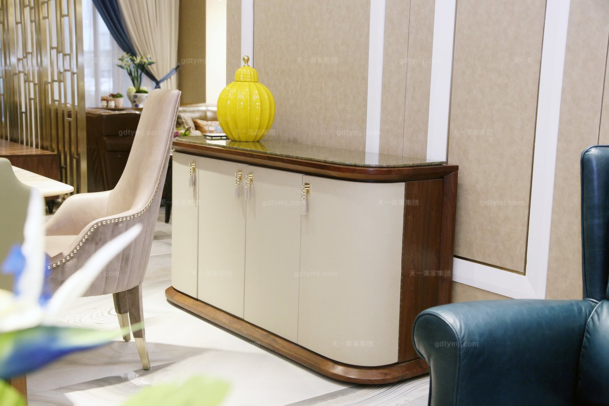高端时尚万博手机网页奢华自然主义白色实木储物柜