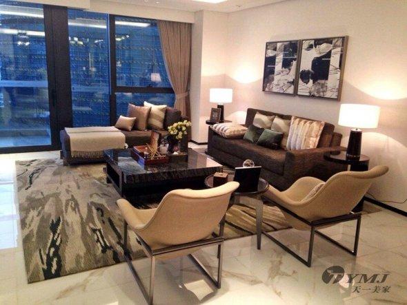 广州天誉半岛花园-时尚现代高端美式样板房家具
