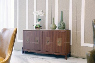 高端实木家具自然主义原木色餐边柜