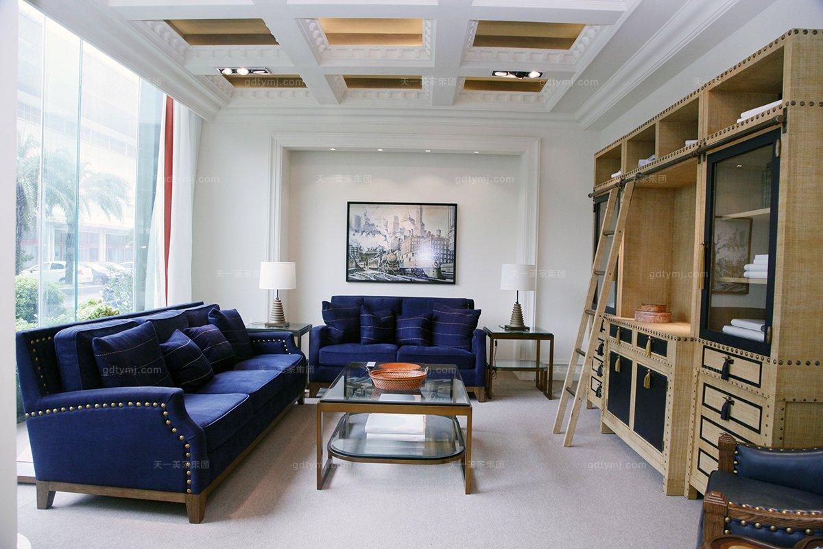 高端别墅万博手机网页品牌自然主义蓝色客厅沙发