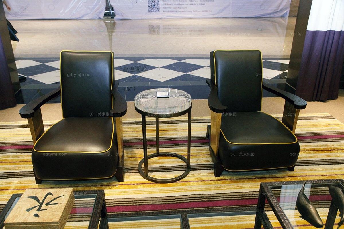 高端五星级酒店万博手机网页美式实木真皮休闲椅
