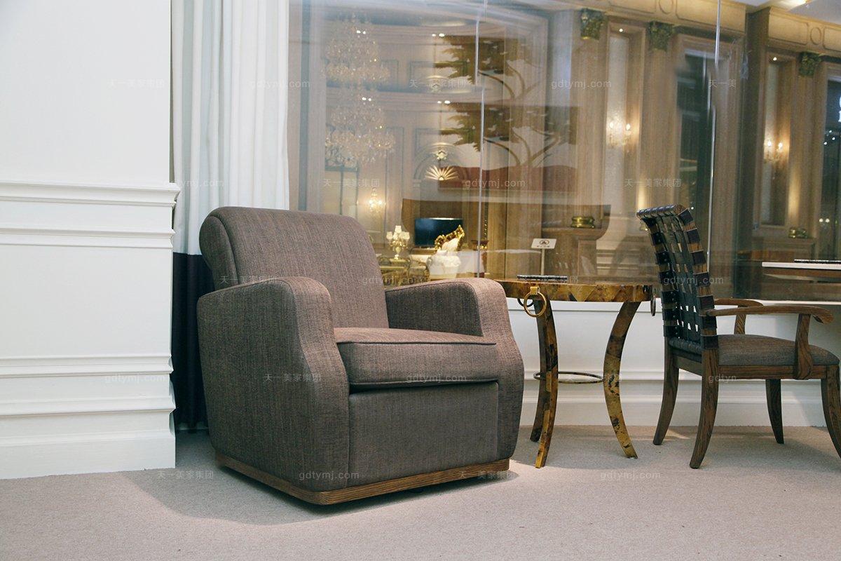 高端别墅万博手机网页美式褐色布艺休闲椅