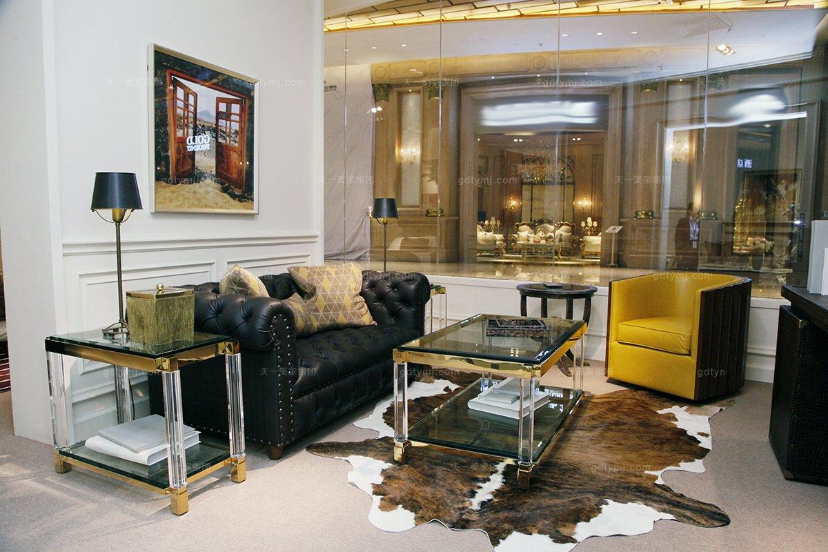 高端五星级酒店美式真皮休闲沙发系列