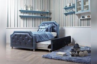 高端儿童万博手机网页品牌时尚软包蓝色儿童床