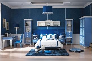 高端奢华儿童家具品牌蓝色儿童卧室家具组合