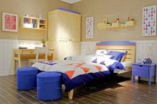 高端儿童家具品牌原木色儿床