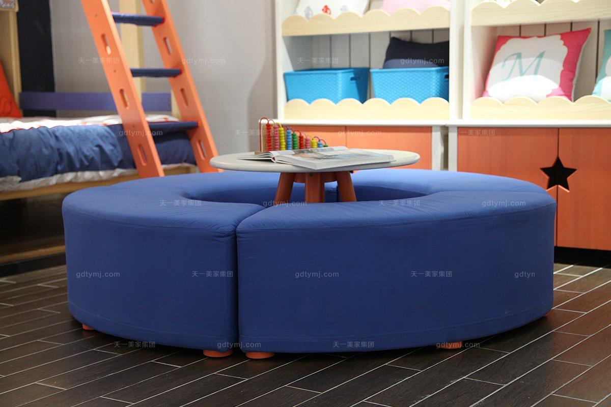 高端儿童家具品牌蓝色布艺圆凳