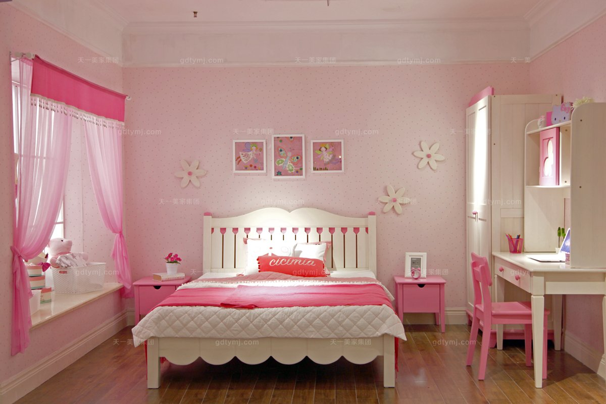 高端儿童家具品牌可爱实木粉红儿童床