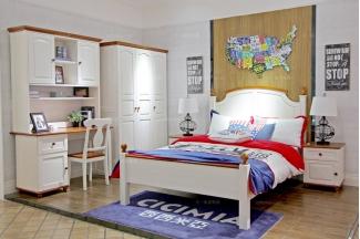 高端奢华儿童家具品牌白色实木儿童床