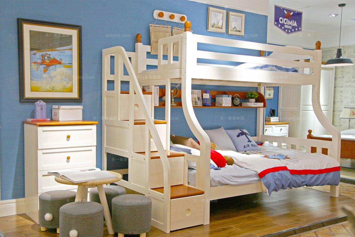 高端儿童品牌万博手机网页白色双层儿童床
