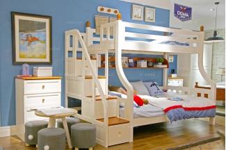 高端儿童品牌家具白色双层儿童床