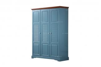 高端品牌儿童家具蓝色实木儿童衣柜