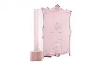 高端儿童家具品牌粉色儿童甜美衣柜