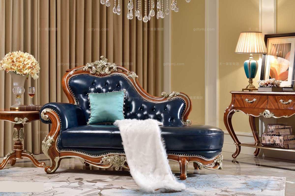 高端实木法式万博手机网页品牌亮黑色贵妃椅