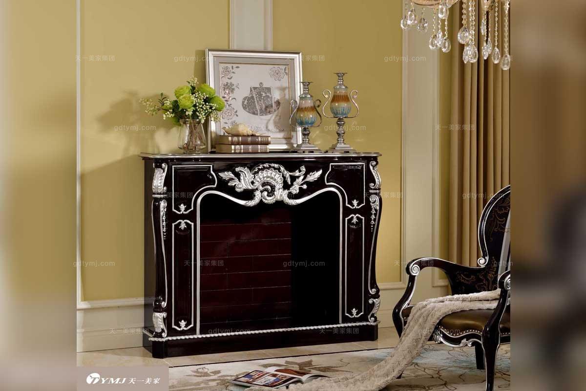顶酒奢华五星级酒店家具法式亮黑色实木餐边柜