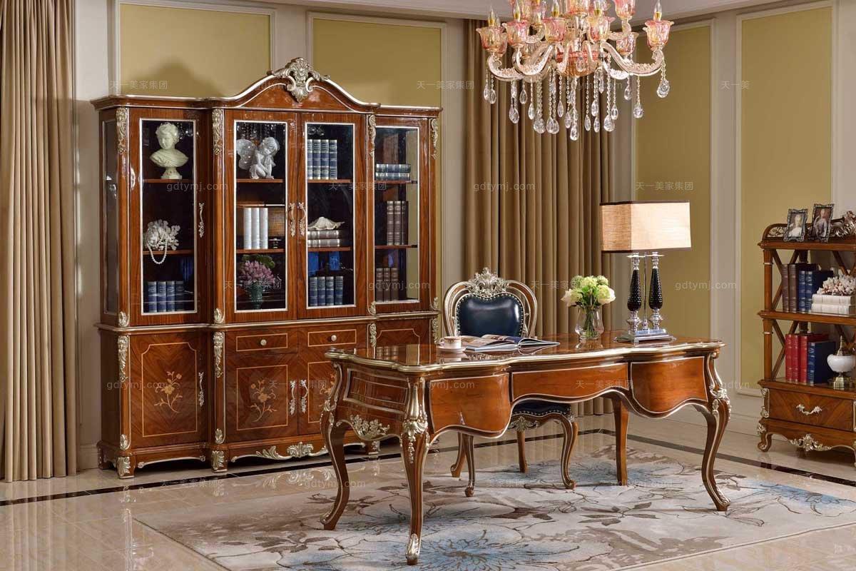 高端高端别墅会所家具法式实木书房组合家具