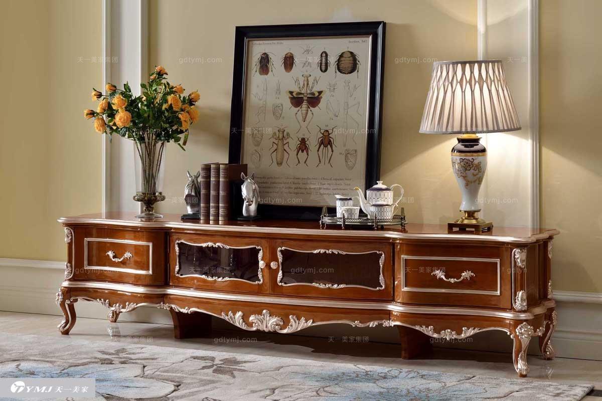 国内高端奢华实木法式家具品牌原木色地柜