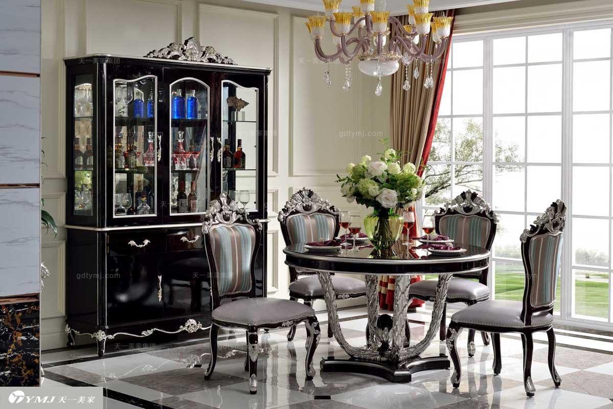 高端奢华法式实木家具亮黑色雕花圆餐台+餐椅+ 三门酒柜