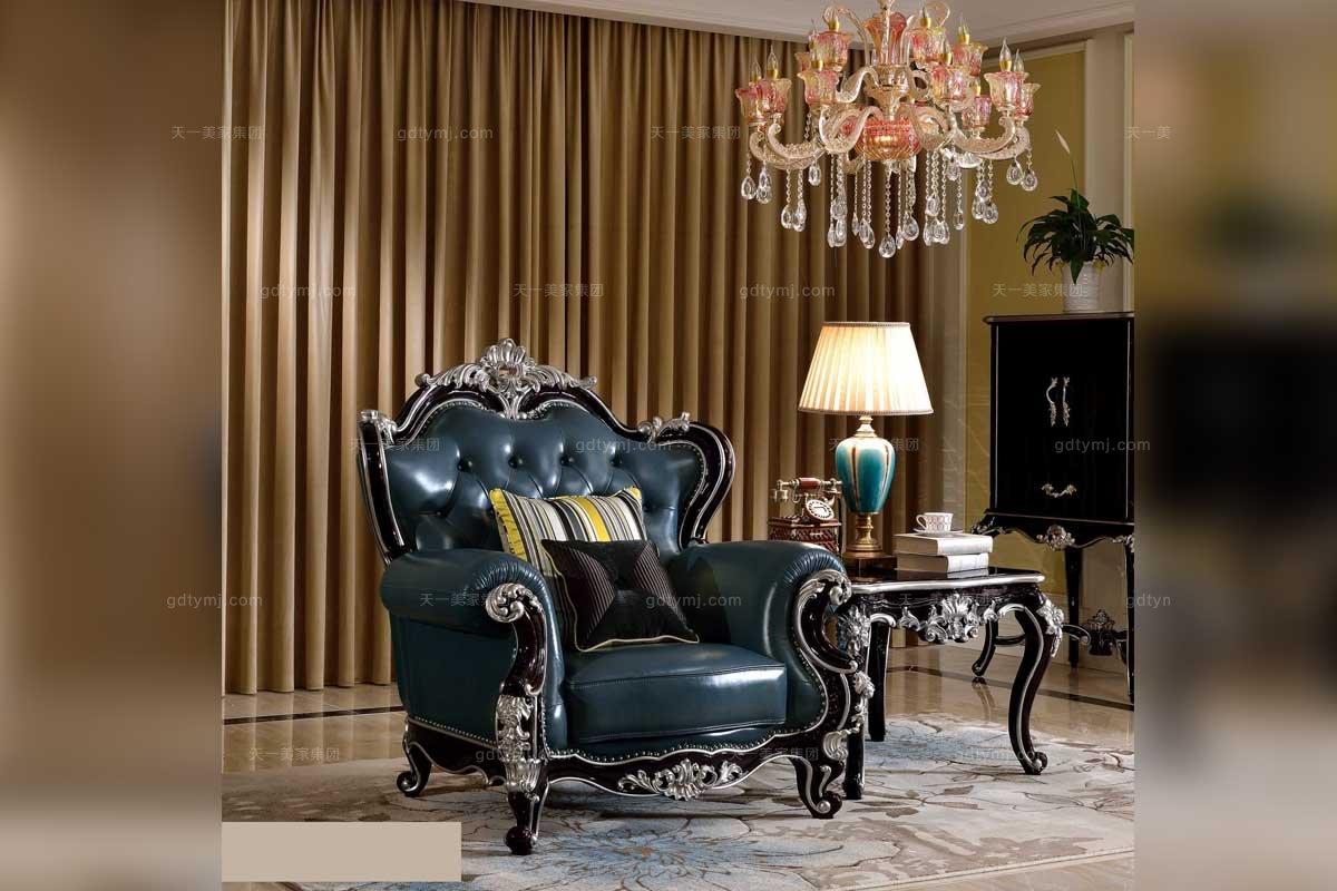 高端万博手机网页品牌法式雕花真皮休闲椅