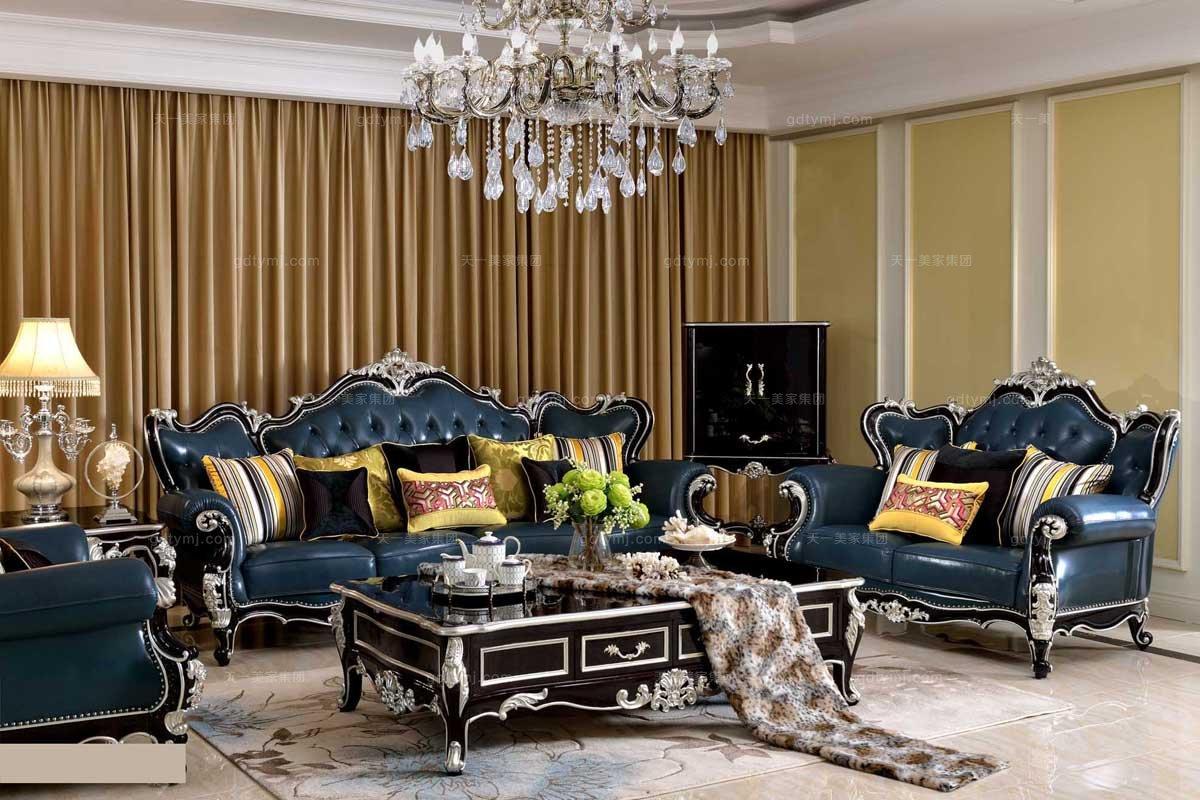 高端别墅万博手机网页品牌法式雕花真皮三人位沙发
