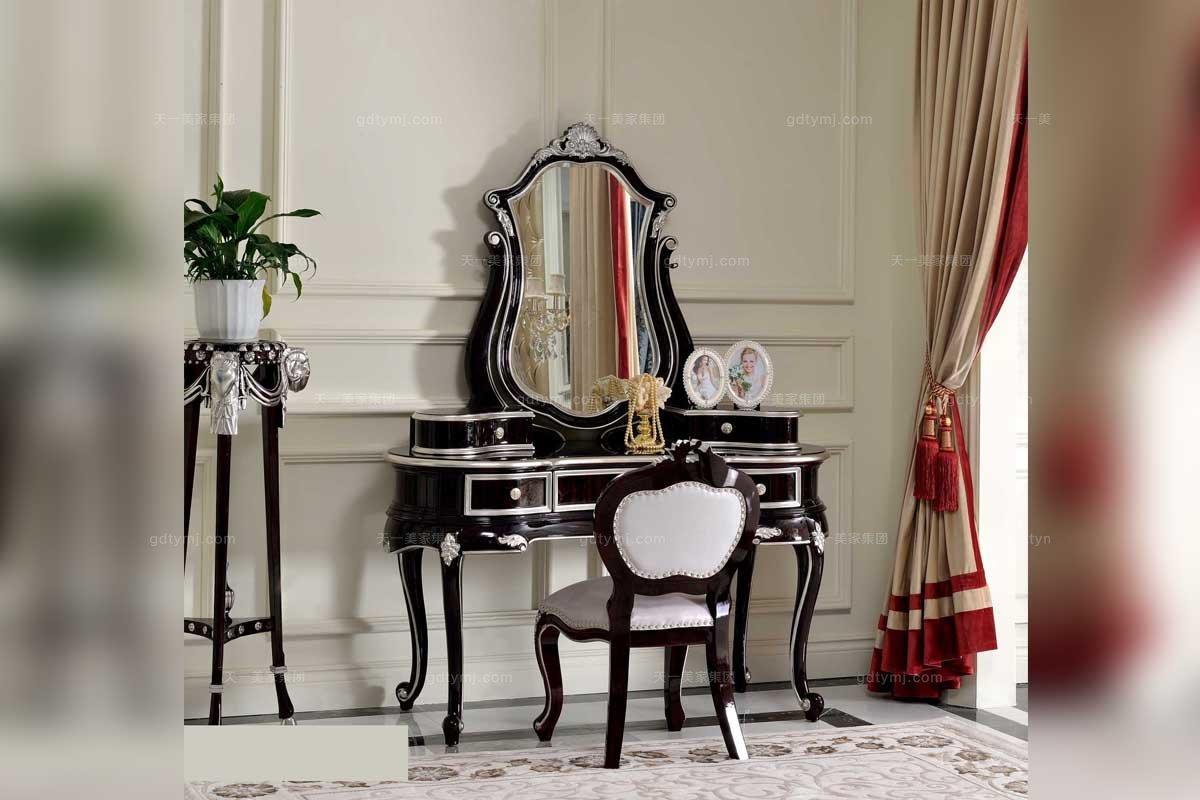 高端实木万博手机网页品牌法式妆台+妆椅组合