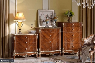 高端实木家具品牌原木色法式斗柜