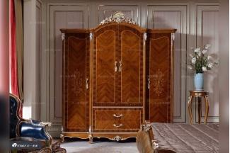 高端别墅实木家具品牌法式原木色衣柜