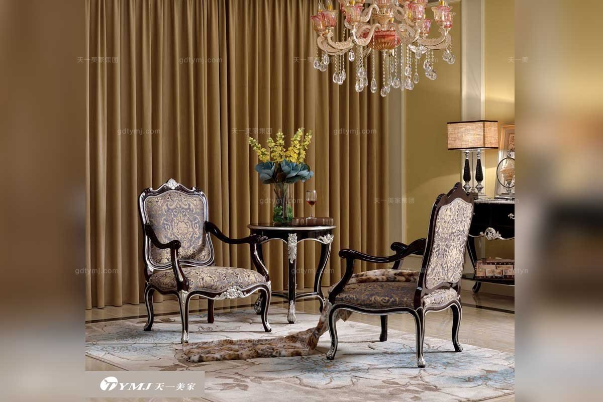 五星级酒店家具品牌高端花纹布艺休闲椅+休闲几