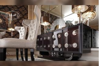 五星级酒店家具品牌实木亮黑装饰餐柜