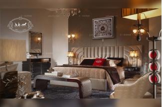 名贵奢华五星级酒店家具后现代风卧室大床