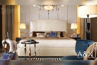 五星级酒店万博手机网页奢华软包后现代大床