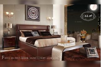 高端别墅样板房万博手机网页后现代棕色大床