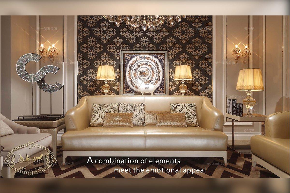 高端别墅家具品牌后现代香槟金色真皮沙发
