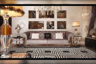 五星级酒店家具品牌后现代灰色布艺三位沙发