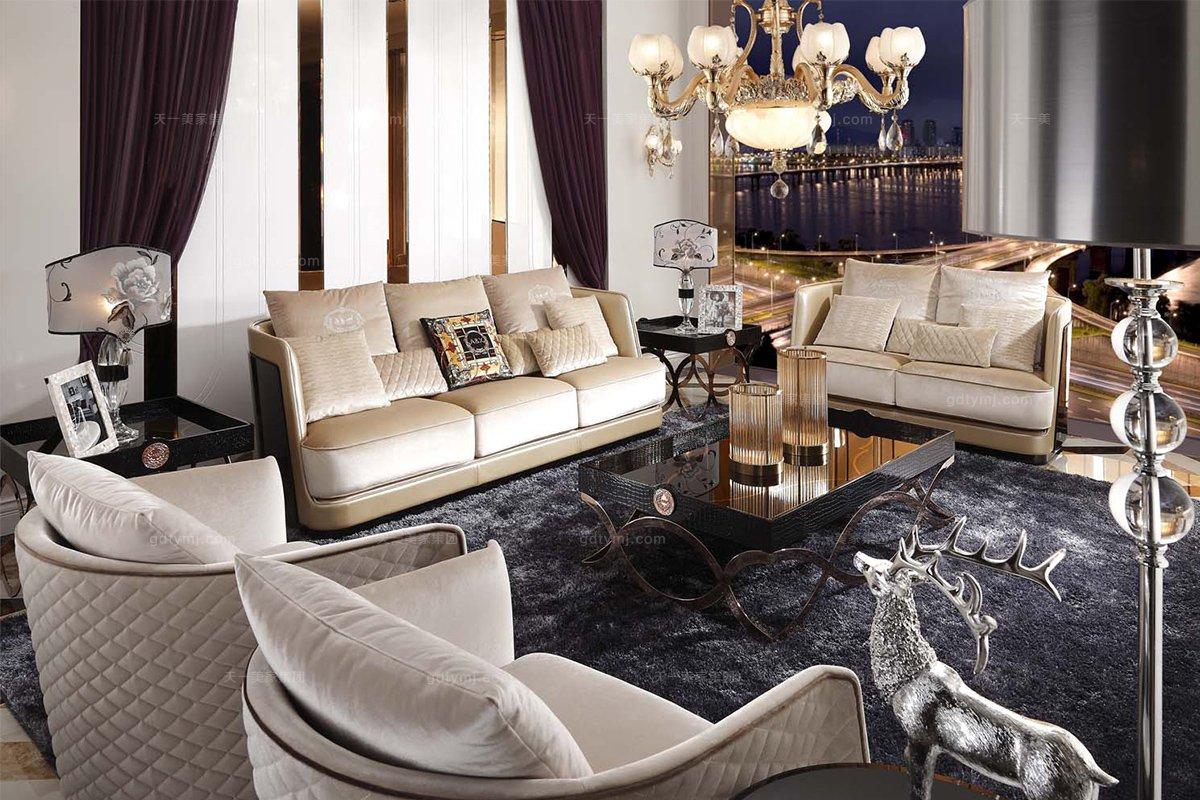名贵奢华别墅品牌家具后现代布艺二人沙发