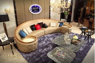 高端五星级酒店样板房家具米黄真皮弧形沙发