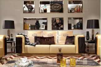 奢华别墅会所售楼处家具实木黄色真皮三人沙发