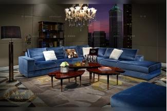 高端五星级酒店别墅万博手机网页蓝色布艺转角沙发组合