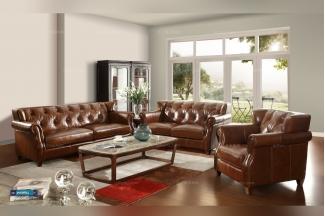 名贵别墅万博手机网页奢华自然主义棕色真皮客厅沙发