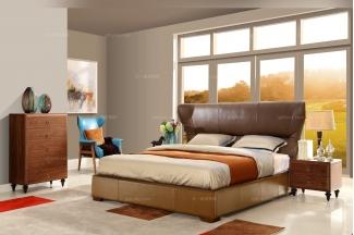 高端五星级酒店家具自然主义软包大床